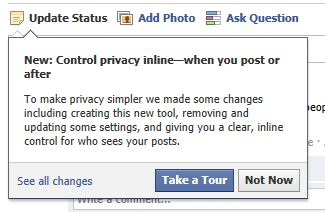 Facebook Control privacy inline setting