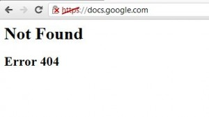 Google Docs 404 Crash