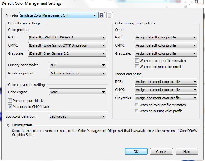 CorelDraw X5 Color Settings