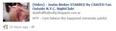 The photo isn't of Justin Bieber, and he was never stabbed.