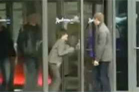 This was Justin's first encounter with a glass door.