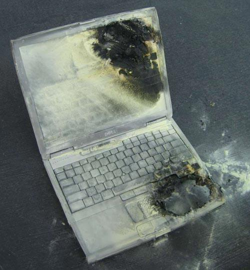 Though rare, it is possible for laptops to catch fire.