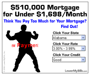 LowerMyBills.com often uses strange graphics in their ads to grab attention.