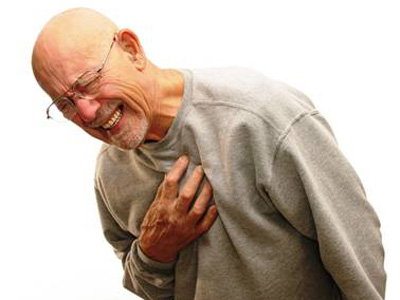 Older man with heart attack chest pains