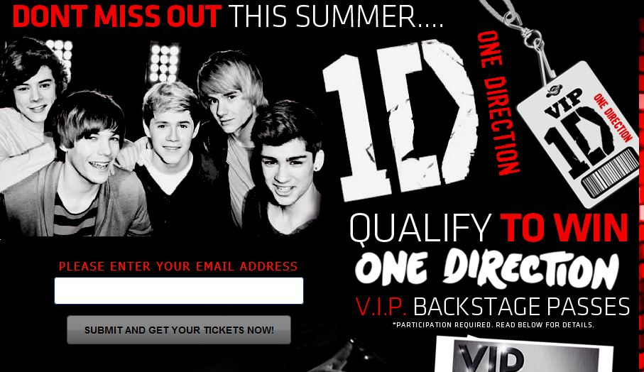 One Direction Free Ticket Giveaway Scam