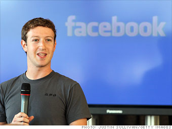 Mark Zuckerberg speaking in front of Facebook logo