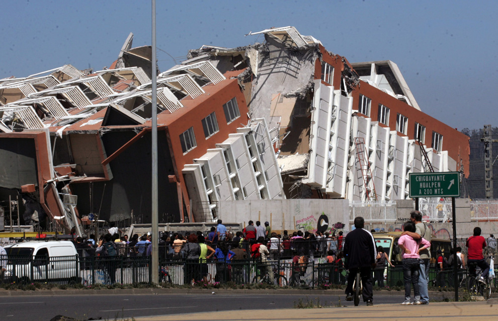 Ruined building after earthquake in Chile