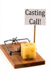 Casting call with cheese baited mouse trap