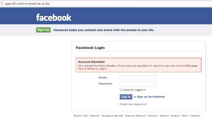 FB phishing