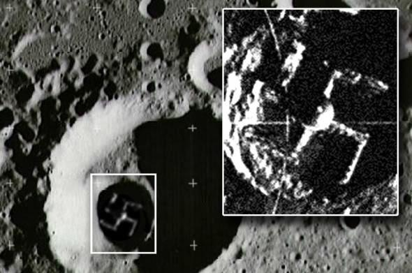 Fake swastika in moon crater photo