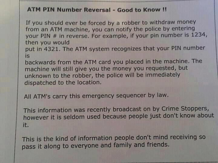 Hoax reverse pin at ATM flyer