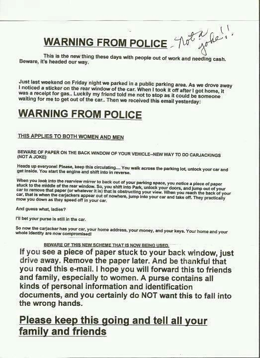 Hoaxed Car Window Carjacking flyer