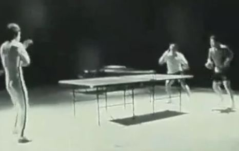 Still from Nokia commercial of Bruce Lee playing Ping Pong with nunchucks