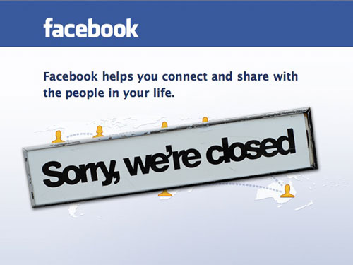 "Facebook ""Sorry, we're closed"" graphic"