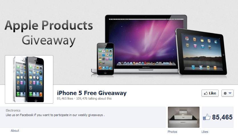 Generic - and anonymous - Facebook pages like are fishing for likes and shares with the empty promise of free Apple products.