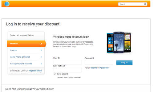 Fake AT&T website telephone phishing scam graphic