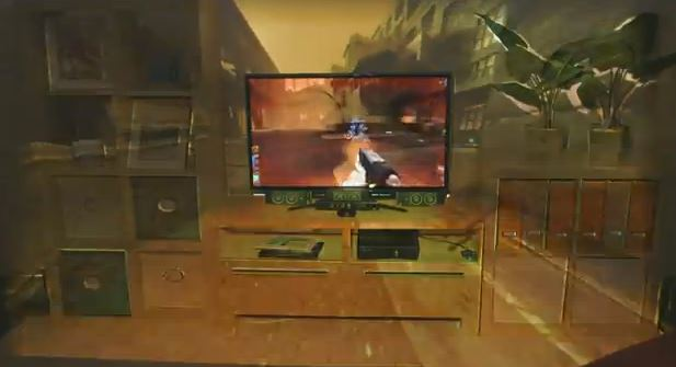 Microsoft's IllumiRoom extends video beyond the television screen.