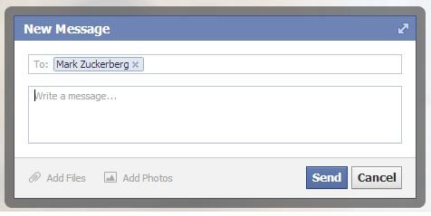 Typing Facebook message to Mark Zuckerberg