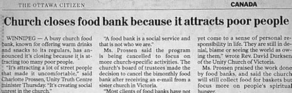 Ottawa Citizen article on church closing food bank