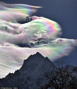 Real photo of iridescent clouds over Himalayas