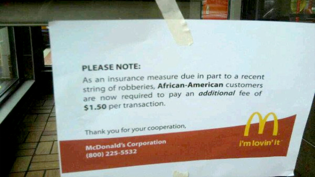 Fake McDonad's African-American tax notice
