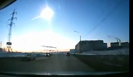 Still of Russian meteorite exploding