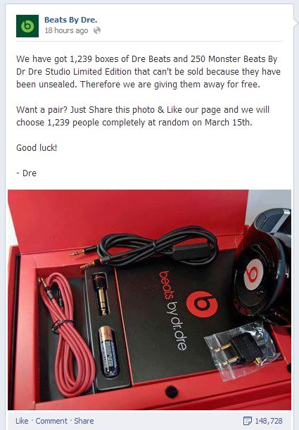 This fake Beats by Dre Facebook page was shut down soon after we contacted the company for a comment.