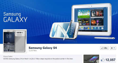 Fake Samsung Galaxy S4 giveaway on Facebook graphic