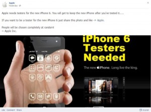 Fake iPhone Tester Giveaways on Facebook
