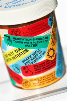Pill bottle with labels