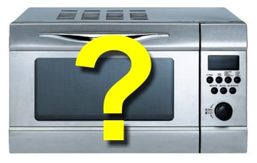 Question mark over microwave oven