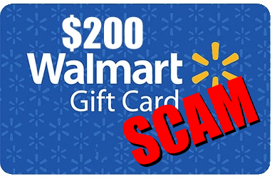 Walmart gift card scam graphic