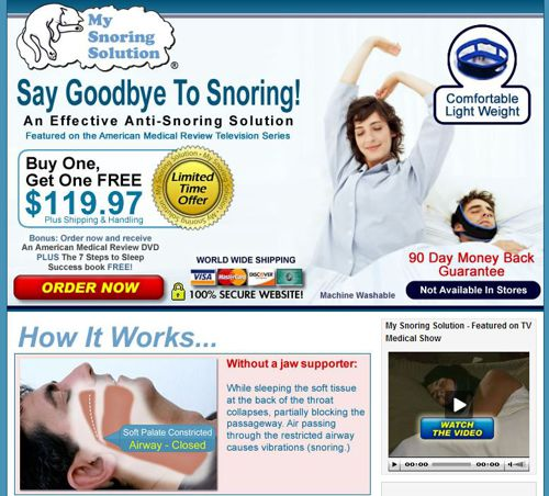 This is the splash page for My Snoring Solution.