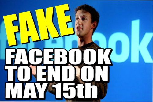 Fake end of Facebook graphic