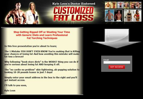 This is the landing page for CustomizedFatLoss.com