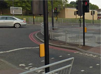This Google Street View from the Woolwich area shows red street lines.