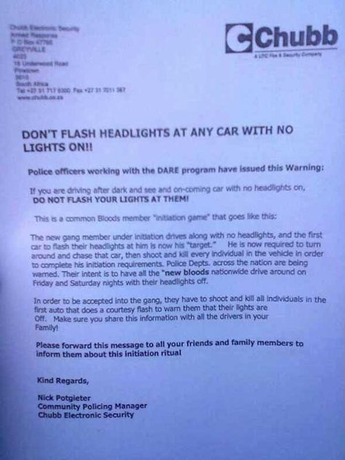 Gang Headlight Warning