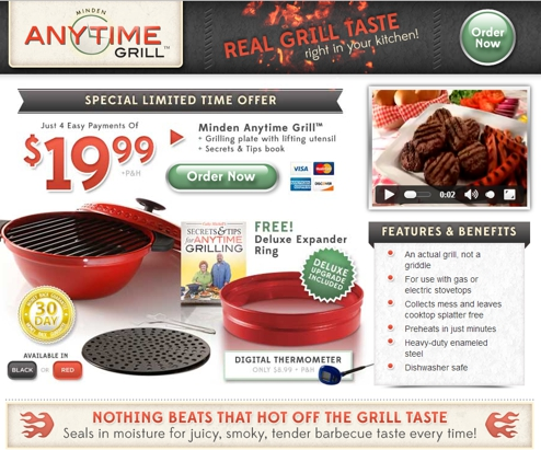 Minden Anytime Grill website screenshot