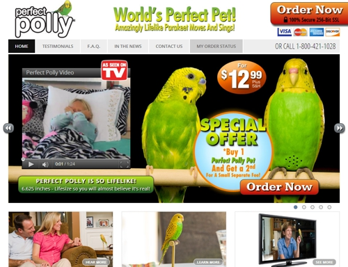 This is a screen capture of the official Perfect Polly website in July 2013.