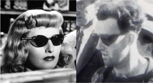 Barbara Stanwyk's sunglasses are merely casting a shadow which resemble the man's side shades.
