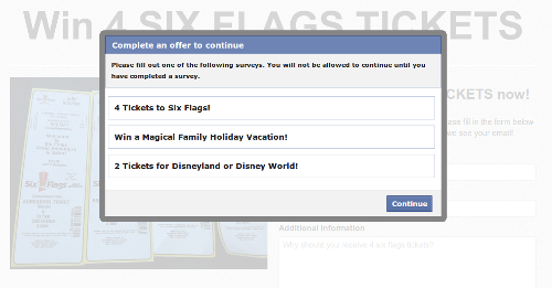 This is where the link on the shared photo took us. It hardly looks like an official Six Flags page.