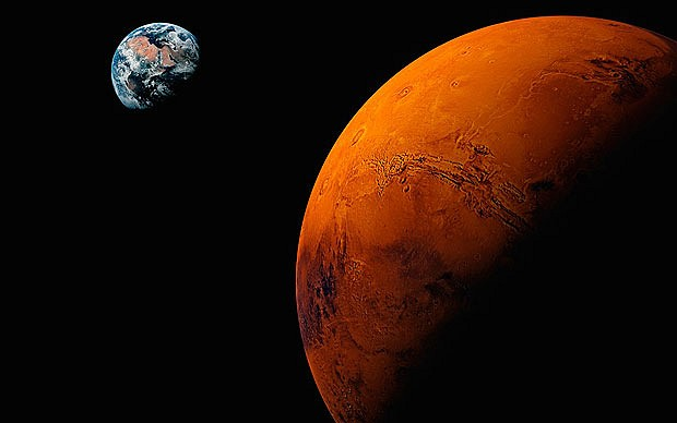 Mars and earth