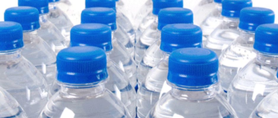 Rows of plastic water bottles