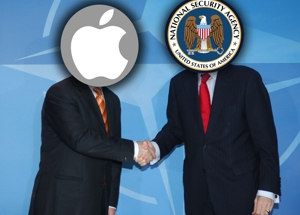 Men Shaking Hands With NSA and Apple Heads
