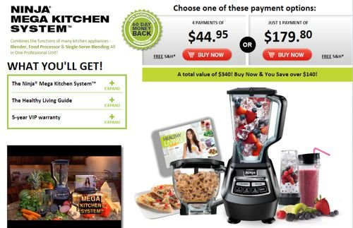 Screenshot from Ninja Mega Kitchen System website