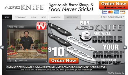 This is the official Aero Knife website, captured October 2013.