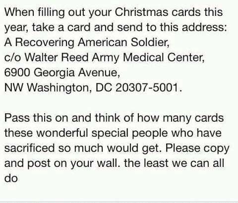 This graphic has circulated for years, instructing readers to send cards to Walter Reed, which is now closed.