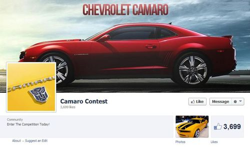 Fake Camaro Giveaway on Facebook