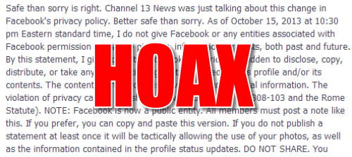 Viral Facebook Privacy Notice Hoax