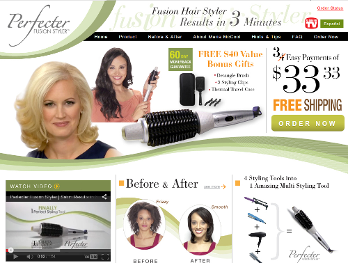 Below is a screen shot of the official Perfecter Fusion Styler website